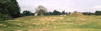 Sutton Hoo - Mound 11 (front left), Mound 10 (foreground, masking Mound 1), Mound 2 (middle distance) and Sutton Hoo House