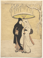 Suzuki Harunobu - Lovers Walking in the Snow (Crow and Heron) ~ archival.png