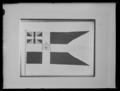 Svensk unionsflagga 3-tungad med riksvapen, kungsflagga - Livrustkammaren - 19501.tif