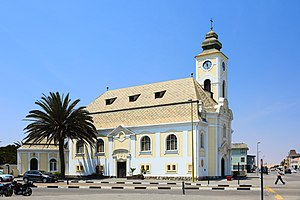 Religion in Namibia - Lutheran church in Swakopmund. Owing to German and Finnish missionary efforts, Lutheranism is religious affiliation of half of the Namibian population.