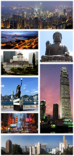 Clockwise from top: Hong Kong skyline at night, Tian Tan Buddha, International Finance Centre, Kennedy Town, Nathan Road, Avenue of Stars, Government House, and Tsing Ma Bridge