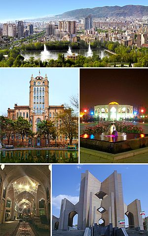 Top:Tabriz World Trade Center and Kuy-e-Valasr area, 2nd left: Tabriz Municipality Palace , 2nd right:Tabriz Grand Bazaar, 3rd left:Tavanir Cable Bridge, 3rd right:Maqbaratoshoara (Tomb of Poets), Bottom:El Guli Garden and Park and nearby Shahgly area
