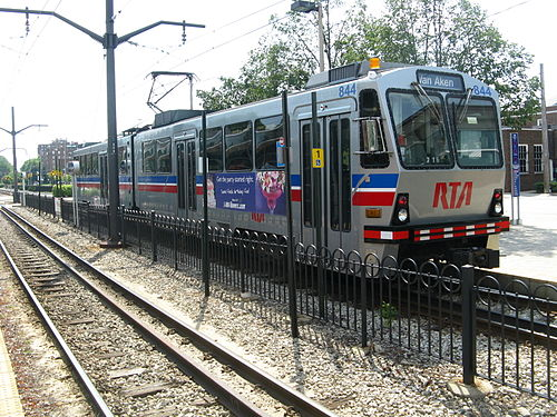 An RTA train arrives at the Shaker Square station. Tcleverta.jpg