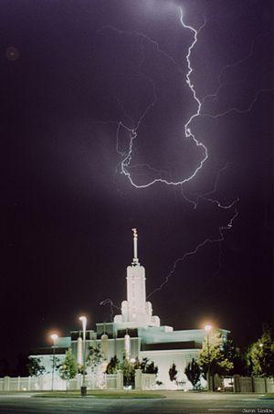 Mount Timpanogos Utah Temple - Mt. Timpanogos temple during lightning storm.