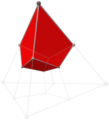 Tesseract tetrahedron shadow with alternating vertex colors, upper cube.png