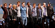 cast of the avengers at the 2010 san diego comic con international with joss whedon and kevin feige - The Avengers