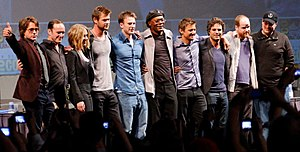 The Avengers (2012 film) - Cast of The Avengers at the 2010 San Diego Comic-Con International, with Joss Whedon and Kevin Feige.
