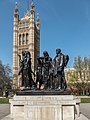 The Burghers of Calais Statue and Victoria Tower, Houses of Parliament, London SW1 (geograph 4897942).jpg