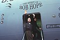 The Clintons wave from the doorway of The Spirit of Bob Hope airplane on departing from Sarajevo en route to Tuzla - Flickr - The Central Intelligence Agency.jpg