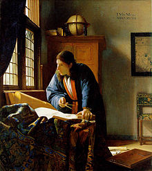 Painting of man with scroll and compass, standing by sunlit window