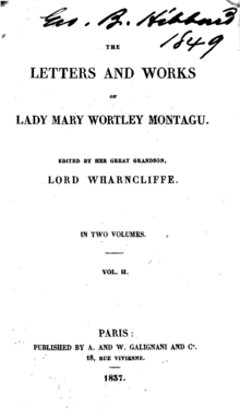 "A páxina de título de ""The Letters and Works of Lady Mary Wortley Montagu"", (1837)"