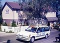 The Milk Race Condor cycles team car climbs past Little Baddow Post Office, 1985 - Flickr - sludgegulper.jpg