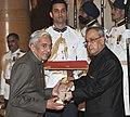 The President, Shri Pranab Mukherjee presenting the Padma Shri Award to Prof. Jagmohan Singh Rajput, at a Civil Investiture Ceremony, at Rashtrapati Bhavan, in New Delhi on April 08, 2015.jpg
