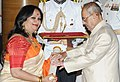 The President, Shri Pranab Mukherjee presenting the Padma Shri Award to Smt. Prathibha Prahlad, at a Civil Investiture Ceremony, at Rashtrapati Bhavan, in New Delhi on April 12, 2016.jpg