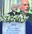 The Prime Minister, Shri Narendra Modi addressing at the inauguration ceremony of the India International Exchange in GIFT City, Gandhinagar, Gujarat on January 09, 2017 (2).jpg