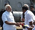 The Prime Minister, Shri Narendra Modi being received by the Chief Minister of Tamil Nadu, Shri Edappadi K. Palaniswami, on his arrival, at Kanyakumari, Tamil Nadu on December 19, 2017.jpg