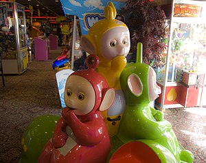 Teletubbies - A kiddie ride at Chuck E. Cheese's featuring the Teletubbies characters.