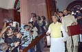 The Union Minister for Railways, Shri Lalu Prasad arrives Parliament with bag containing Railway Budget 2005-06 papers for presentation in the Lok Sabha in New Delhi on February 26, 2005.jpg