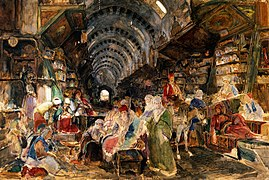 The bazaar at Constantinople. Watercolour by J. F. Lewis. Wellcome V0017600