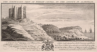 The north east view of Webley castle, in the county of Glamorgan