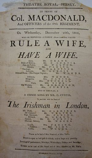 Rule a Wife and Have a Wife - A programme printed on silk for a performance of Rule a Wife and Have a Wife in Jersey on 20 December 1809