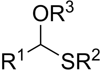 Thioacetal - General structure of a monothioacetal.