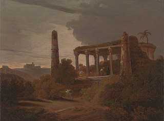 Indian Landscape with Temple Ruins
