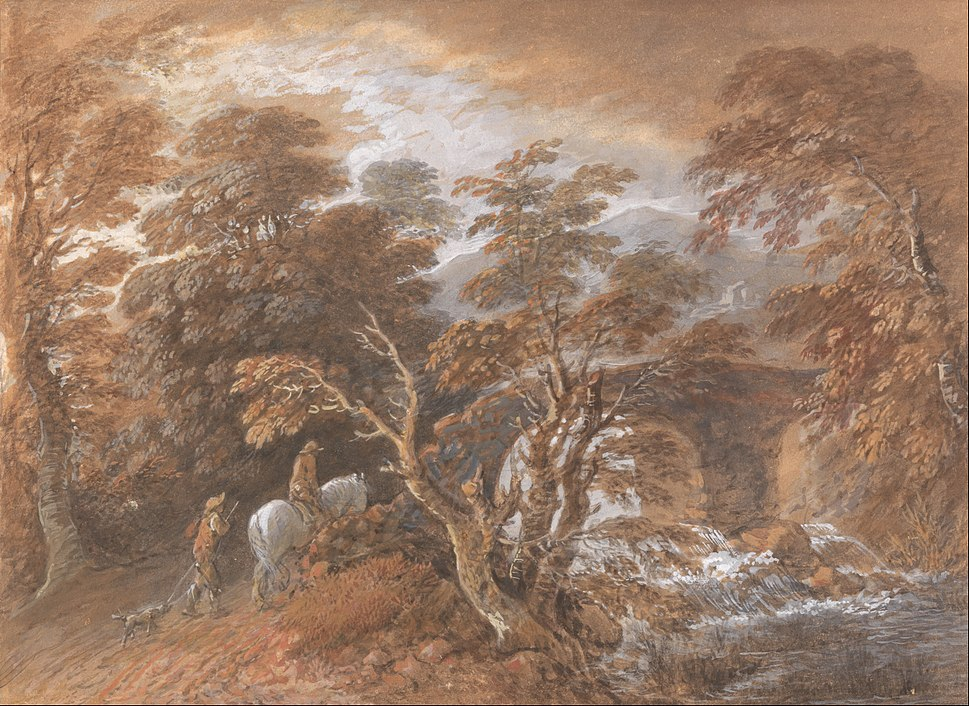 Thomas Gainsborough - Hilly Landscape with Figures Approaching a Bridge - Google Art Project