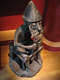 A reproduction of a statue of Thor from the 10th century found in Iceland.