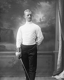Thorleiv Bugge Rohn in a fencing uniform in 1907 Thorleiv Bugge Rohn (1907).jpg