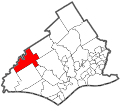 Location of Thornbury Township in Delaware County