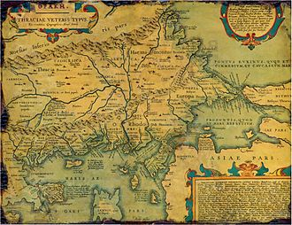 Thrace - Map of Ancient Thrace made by Abraham Ortelius in 1585, stating both the names Thrace and Europe