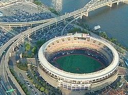 Aerial view of Three Rivers Stadium, circa 2000