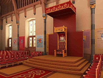 Monarchy of the Netherlands - The throne of the Ridderzaal, from which the Dutch monarch delivers the Throne Speech on Prinsjesdag.