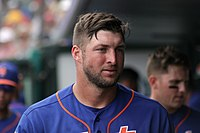 Tim Tebow Tim Tebow in the dugout.jpg