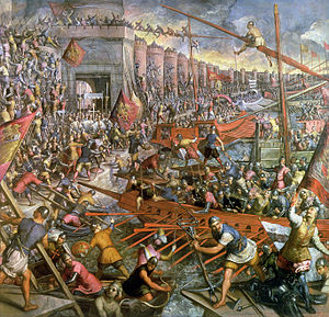 Venetian navy - The Capture of Constantinople in 1204, 1580 oil painting by Tintoretto.