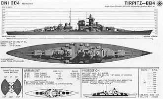 German battleship Tirpitz - Recognition drawing prepared by the US Navy