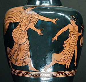 Tithonus - Eos pursues the reluctant Tithonos, who holds a lyre, on an Attic oinochoe of the Achilles Painter, circa 470–460 BC (Louvre).