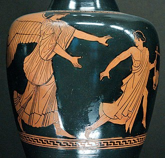 Giantess - The Titanide Eos pursues the object of her affection, the reluctant Tithonos, on an Attic oinochoe of the Achilles Painter, ca. 470 BC–460 BCE (Louvre)