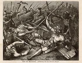 La Mort de Spartacus par Hermann Vogel, 1888.