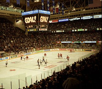 Maple Leaf Sports & Entertainment - The Toronto Maple Leafs, the primary asset of MLGL for many years, play a home game at the Gardens in 1994