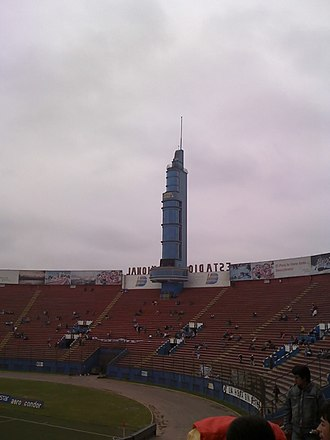 Estadio Nacional del Perú - The North stand's emblematic tower before renovations.
