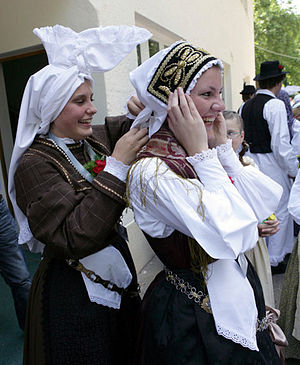 Upper Carniola - Female traditional costume with the typical hat, called avba.