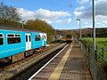 Train from Cardiff arrives at Ystrad Rhondda station - geograph.org.uk - 2793468.jpg