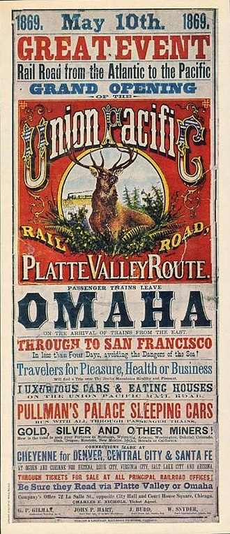 First Transcontinental Railroad - The official poster announcing the Pacific Railroad's grand opening.
