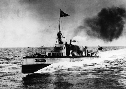 Turbinia, the first steam turbine-powered steamship and the fastest ship in the world at that time. Turbinia At Speed.jpg