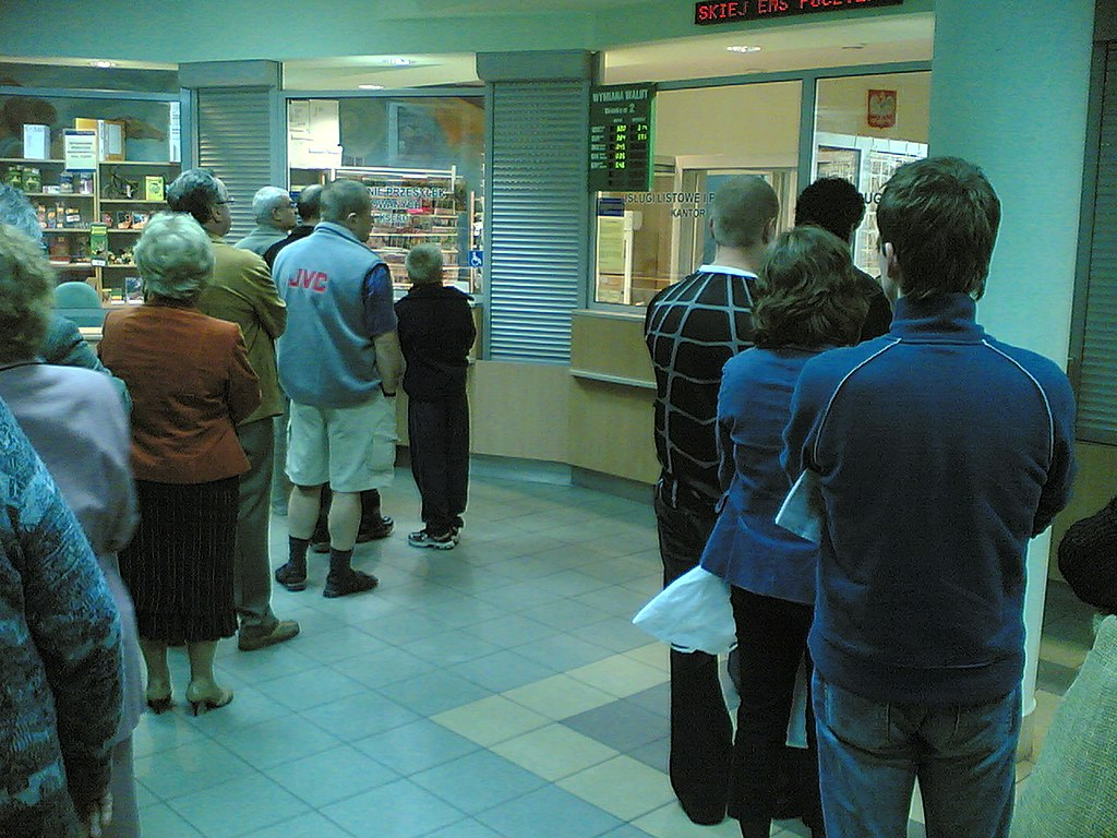 Typical queue in Polish Post Office