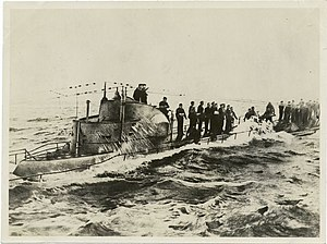 United States Navy operations during World War I - German officers and crewmen evacuating the ''U-58'' on November 17, 1917.
