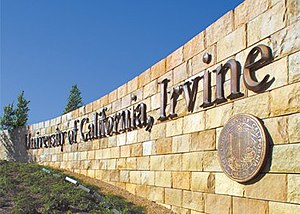 University of California, Irvine - One of two identical UCI signs that face the main campus' western entrance.