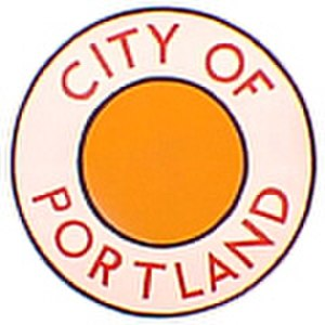 "City of Portland (train) - ""Drumhead"" logos such as this often adorned the ends of the observation cars on the City of Portland."